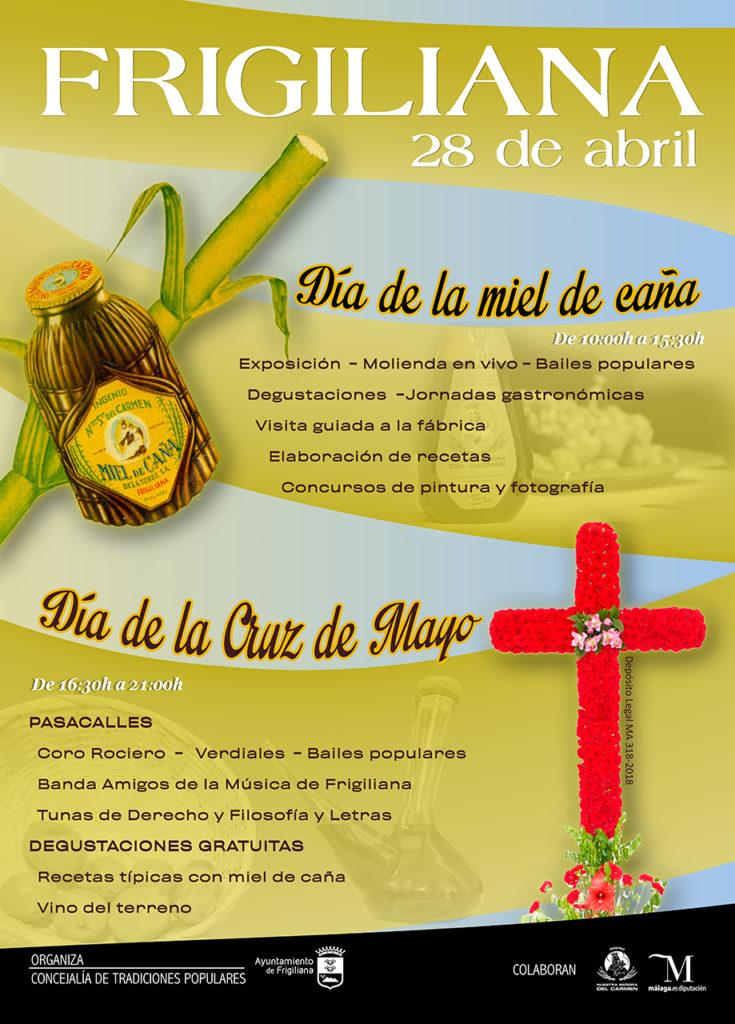 Plakat reklamujący Día de la Miel de Caña we Frigiliana.