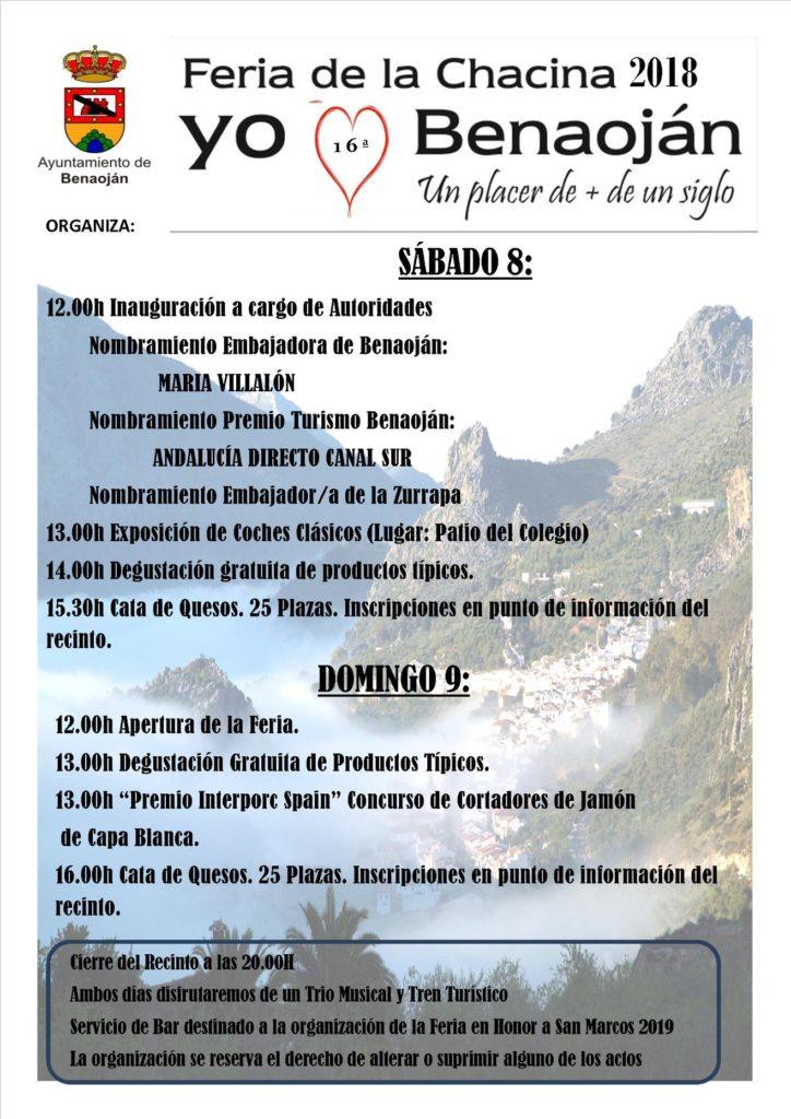 Plakat reklamujący Feria de la Chacina. Foto: Ayuntamiento de Benaoján.