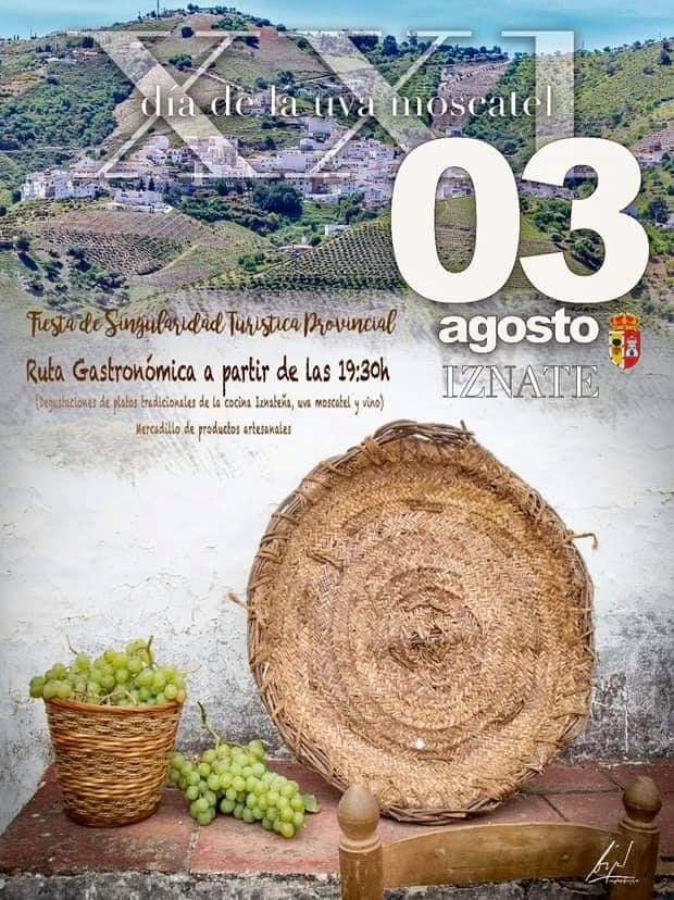 Plakat reklamujący DÍa de la Uva Moscatel w Iznate. Foto: Ayuntamiento de Iznate.