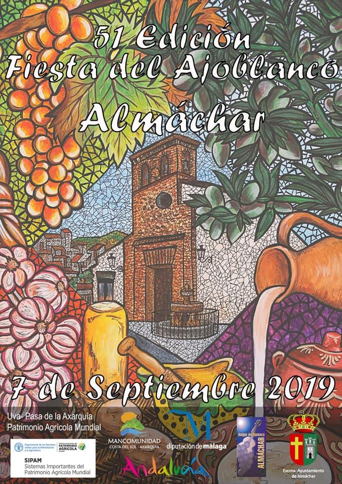 Plakat reklamujący Fiesta del Ajoblanco  w  Almáchar. Foto: Ayuntamiento de Almachár.