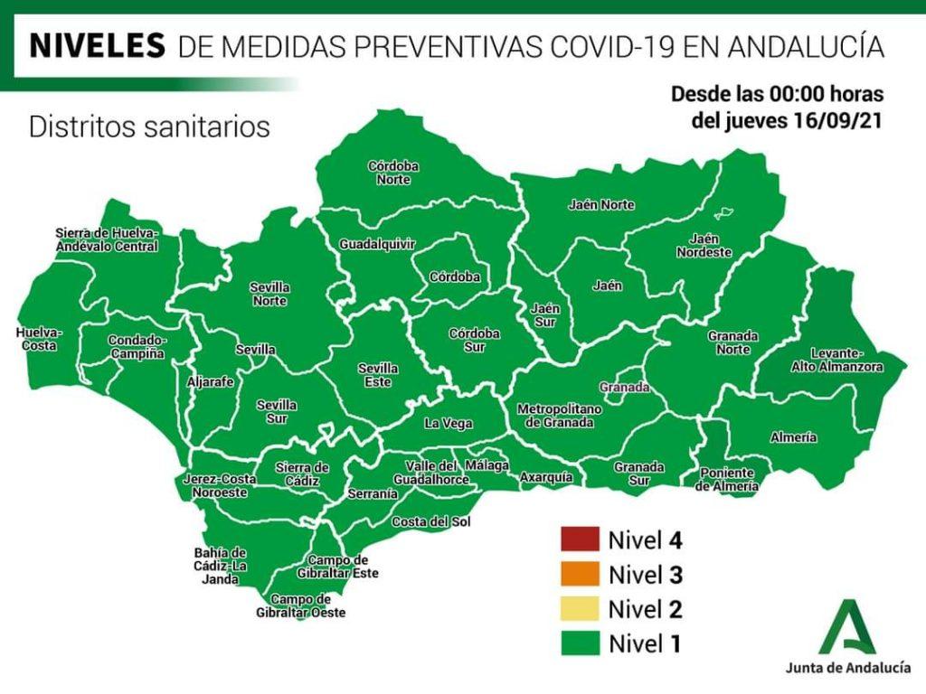 Aktualny poziom obostrzeń w Andaluzji. Foto: Junta de Andalucía.